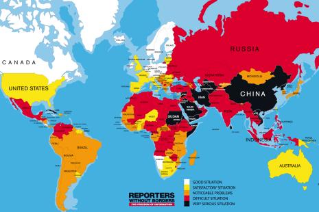 The rank of Reporter sans Frontières